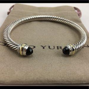 David Yurman Black Onyx and 14k Gold 5mm Bracelet